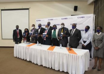 Different Officials during the launch of International Centre for Arbitration and Mediation launches in Kampala on Monday (PHOTO/Courtesy).