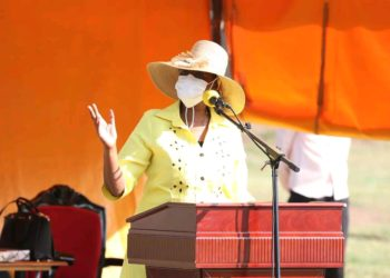 First Lady Janet Museveni campaigning for husband in Moroto on Wednesday (PHOTO/Courtesy).