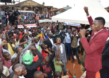 Lord Mayor hopeful Joseph Mayanja campaigning in Kawempe on Wednesday (PHOTO/Courtesy).