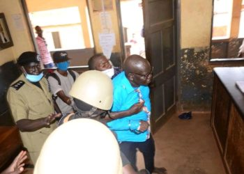 FDC Presidential candidate Patrick Oboi Amuriat being arrested as he carries out campaign (PHOTO/Courtesy).