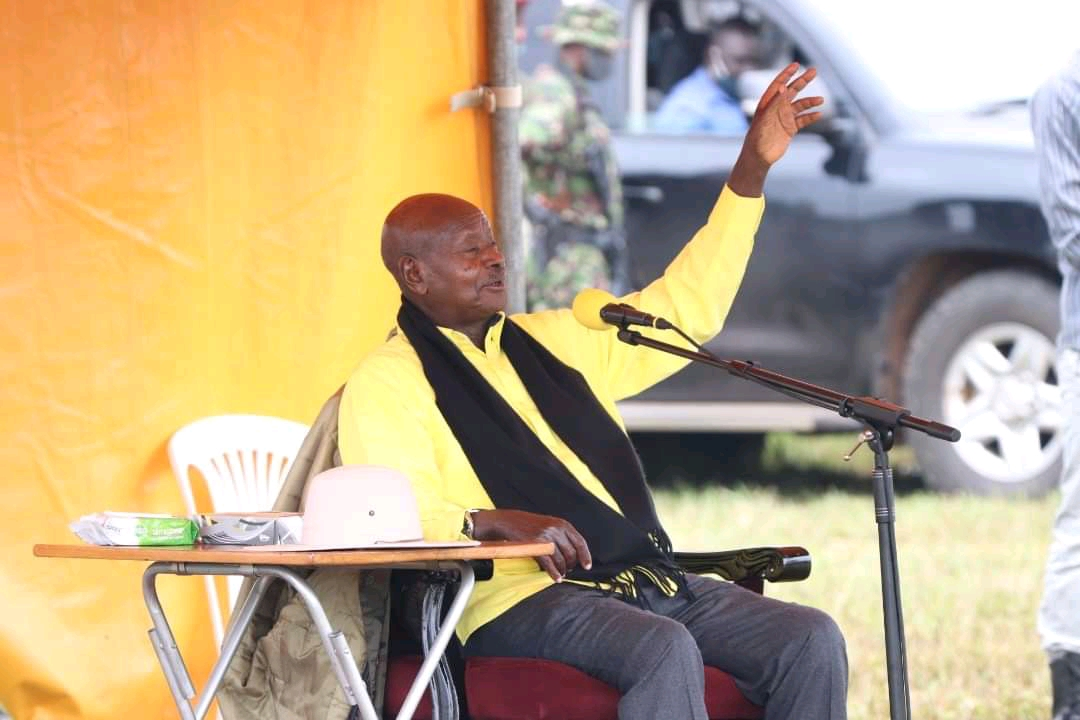 Mzee Tubuhaburwa Museveni campaigning in Bugisu (PHOTO/Courtesy).