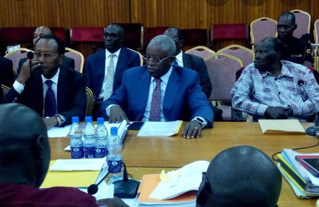 Former shareholders of the NBC Bank, businessman, Amos Nzeeyi, Former Prime Minister Amama Mbabazi and former Supreme Court Judge, George Kanyeihamba at the Bank probe Monday February 4. (PHOTO/File).