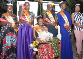Ms Sonia Komugisha (center) the winner Miss Tourism Uganda 2020-2021 beauty pageant together with other contestants (PHOTO/Courtesy).