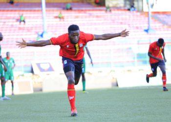Halid Lwaliwa celebrates after scoring the winning goal against South Sudan on Thursday. (PHOTO/Courtesy)