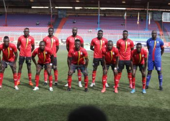 The Uganda Cranes line up before the 1-0 victory over South Sudan on Thursday. (PHOTO/Courtesy)