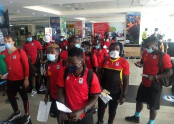 The Uganda Cranes at Entebbe International airport on Tuesday. (PHOTO/Courtesy)