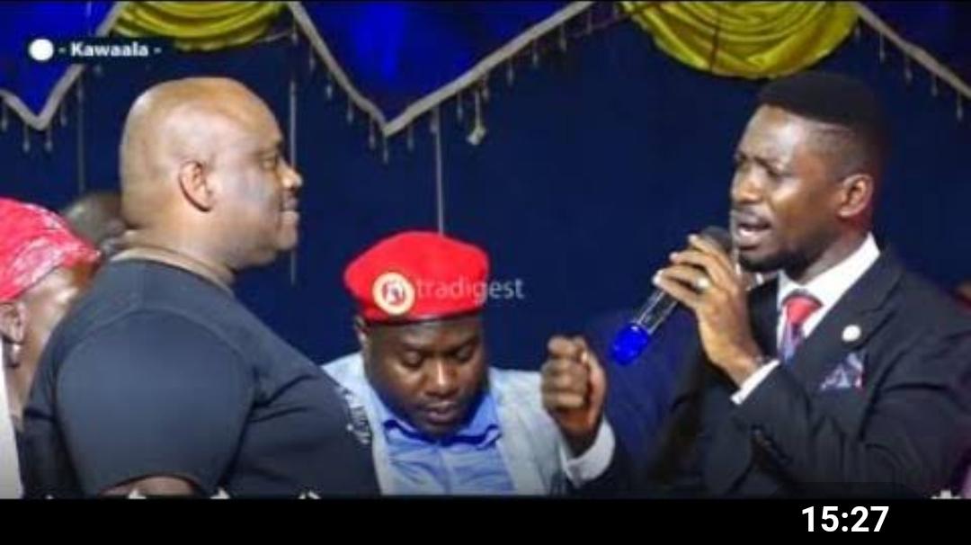 Pastor Mondo and Bobi Wine at Pastor Yiga's burial ceremony (PHOTO/Courtesy).