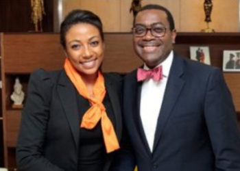 Vanessa moungar AdesinaVanessa Moungar with Dr Akinwumi Adesina, the President of the African Development Bank respectively (PHOTO/File).