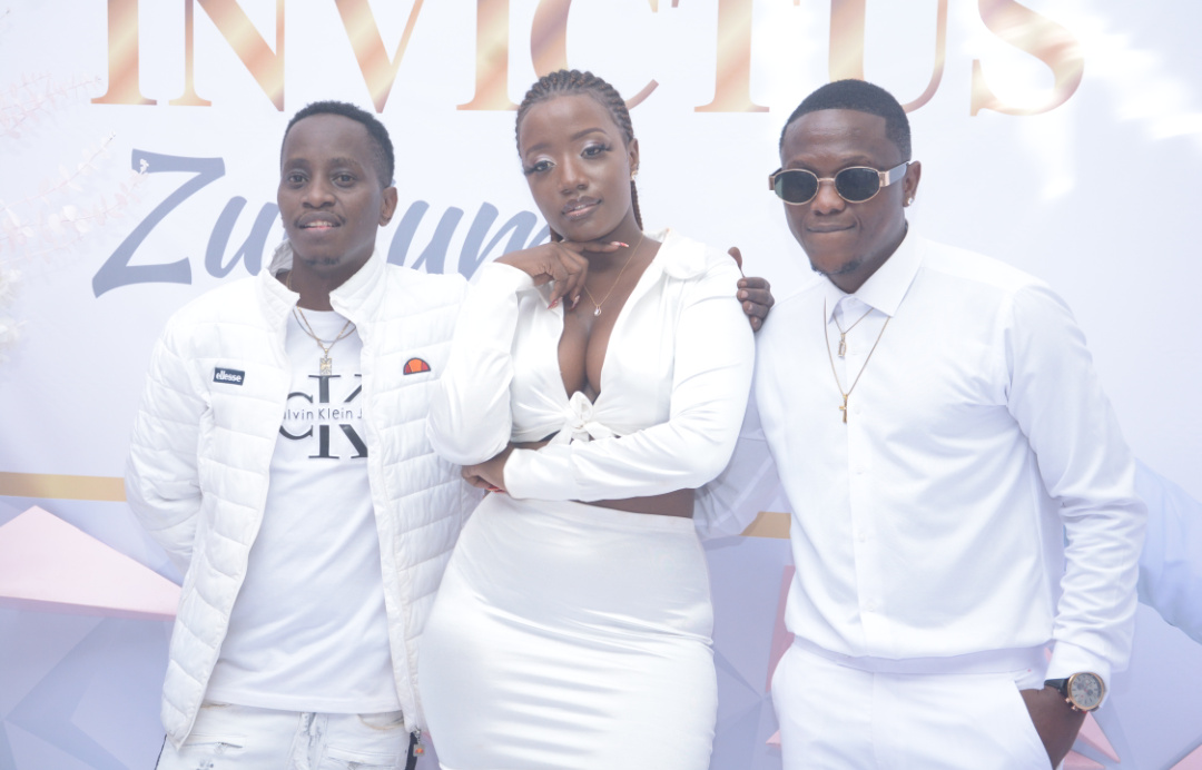 Entertainers MC Kats, Daddy Nyce with singer Lydia Jazmine at the event (PHOTO/PML Daily).