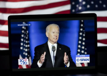 Photo taken in Arlington, Virginia, the United States, on Nov. 7, 2020, shows the live stream of U.S. Democratic nominee Joe Biden delivering a speech in Wilmington, Delaware (PHOTO/Xinhua).