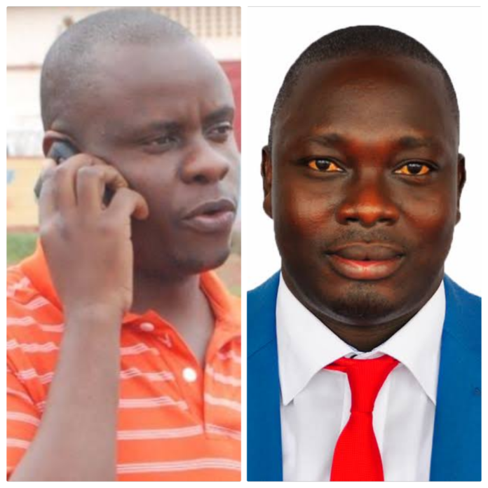 Parliamentary backbench commissioner Solomon Silwany and Balaam Barugahara on Monday had a bad morning when mean-looking SFC commandos threw them out of State Lodge, Soroti (PHOTO/Courtesy)
