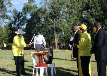 President Yoweri Museveni in Bushenyi where he campaigned on Tuesday (PHOTO/Courtesy).