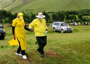 President Yoweri Museveni and wife in Ntungamo district on Wednesday (PHOTO/Courtesy).