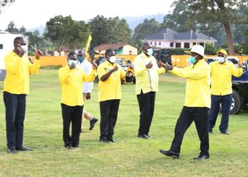 Mzee Tibuhaburwa Museveni being ushered in ahead of campaign in Kabale on Saturday (PHOTO/Courtesy).