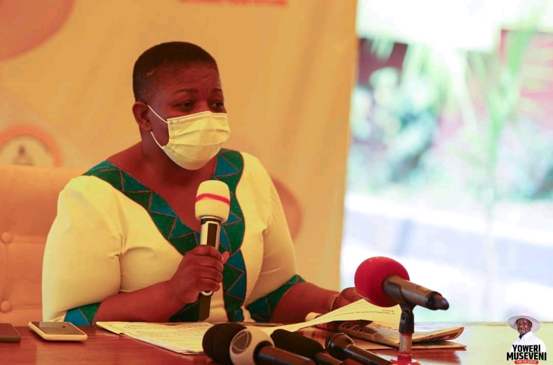 NRM party Secretary General, Justine Kasule Lumumba addressing press on Sunday (PHOTO/Courtesy).