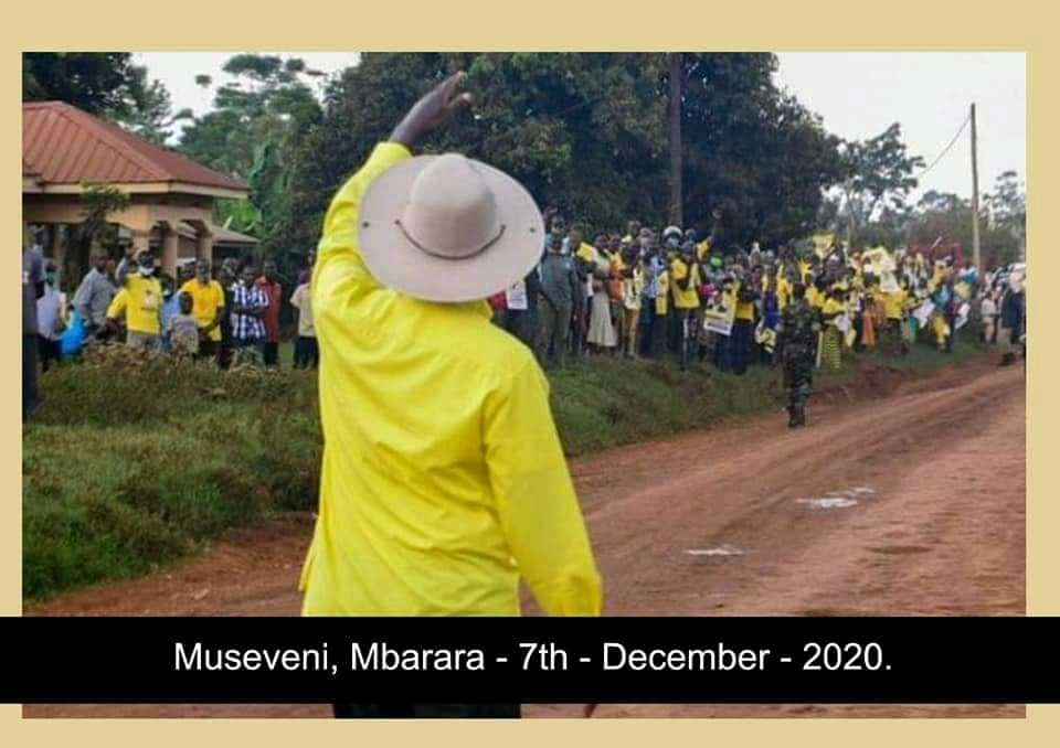 President Yoweri Museveni waving at his supporters in Mbarara City (PHOTO/Courtesy).