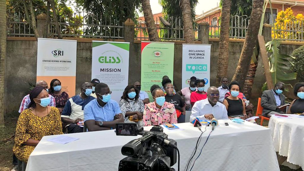 Civil Society leaders in Uganda addressing the media on Sunday (PHOTO/Courtesy).