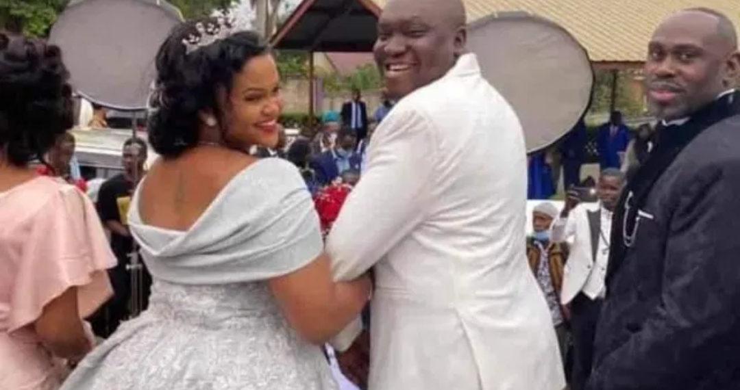 Comedian Patrick Salvador Idringi and wife Daphine Frankstock on their wedding on Friday (PHOTO/Courtesy).