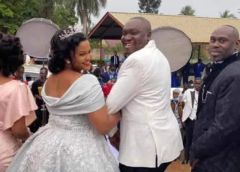 Comedian Patrick Salvador Idringi and wife Daphine Frankstock on their wedding on Friday (PHOTO/Courtesy).