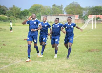 Police FC players celebrate after scoring one of theie three goals against MYDA FC on Tuesday. (PHOTO/COURTESY)