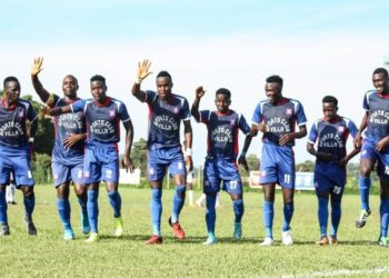 SC Villa players celebrate one of their three goals against Mbarara City FC on Wednesday, December 09 at Bombo Military Barracks Stadium. (PHOTO/COURTESY)