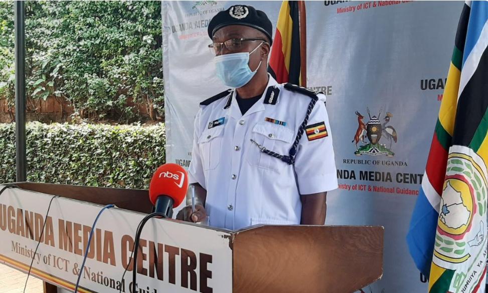 Basil Mugisha, the Acting director for traffic addressing the press at Uganda Media Center on Monday (PHOTO/Courtesy).
