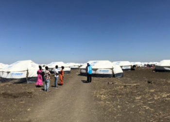 The first group of refugees from Ethiopia's Tigray region are welcomed by UNHCR staff at the Tunaydbah refugee camp, Sudan (PHOTO/Courtesy).