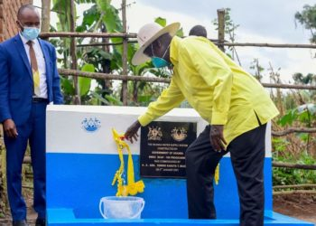 President Museveni commissioning Nkanka Water Supply System on Monday (PHOTO/Courtesy).