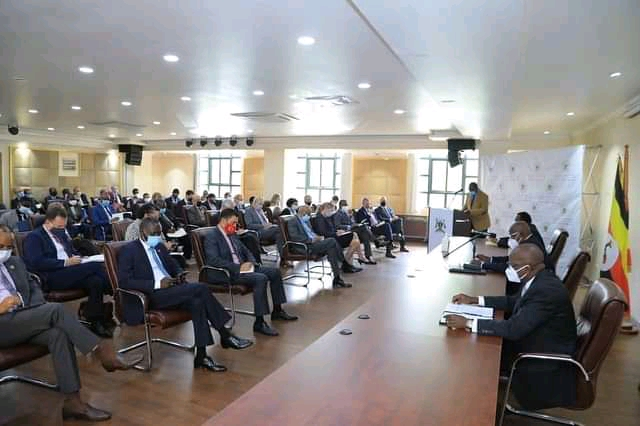 Foreign Affairs Minister Sam Kutesa briefing the diplomats (PHOTO/Courtesy).