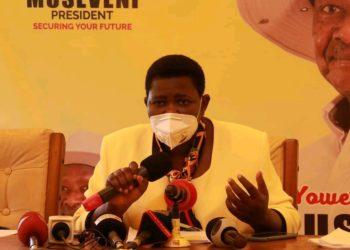 NRM National Treasurer Rosemary Namayanja Nsereko during a press briefing on Sunday (PHOTO/Courtesy).