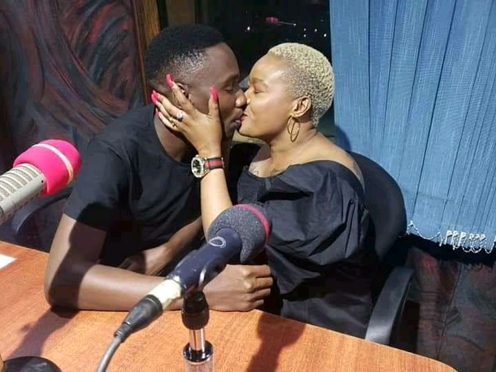 Tamale Mirundi's son and Nalongo Don Zella kissing (PHOTO/Courtesy).