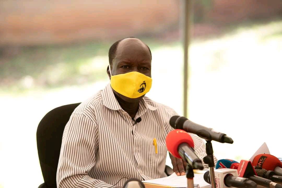 NRM Electoral Commission chairperson Dr. Tanga Odoi addressing press on Friday (PHOTO/Courtesy).