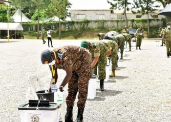 UPSF officers casting their votes at Bombo on Friday (PHOTO/Courtesy).