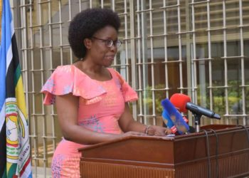 ICT Minister Judith Nabakooba during a presser at Uganda Media Center on Sunday (PHOTO/Courtesy).