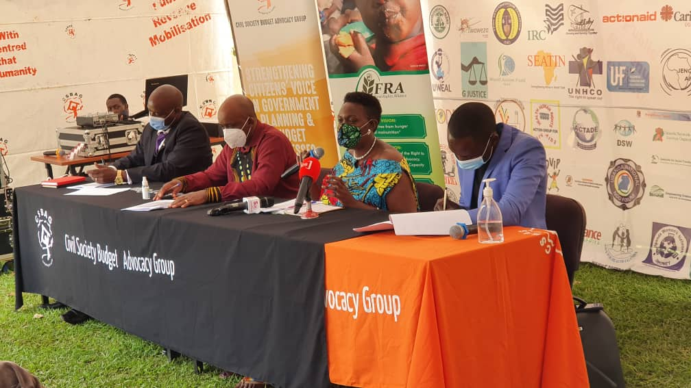 Civil Society Budgeting Advocacy Group (CSBAG) officials, led by the executive director, Mr Julius Mukunda, hold a press conference recently (PHOTO/File).
