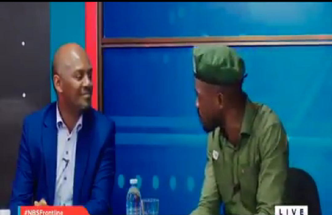 Andrew Nwenda and Bobi Wine respectively appearing on NBS Frontline (PHOTO/Video grab).