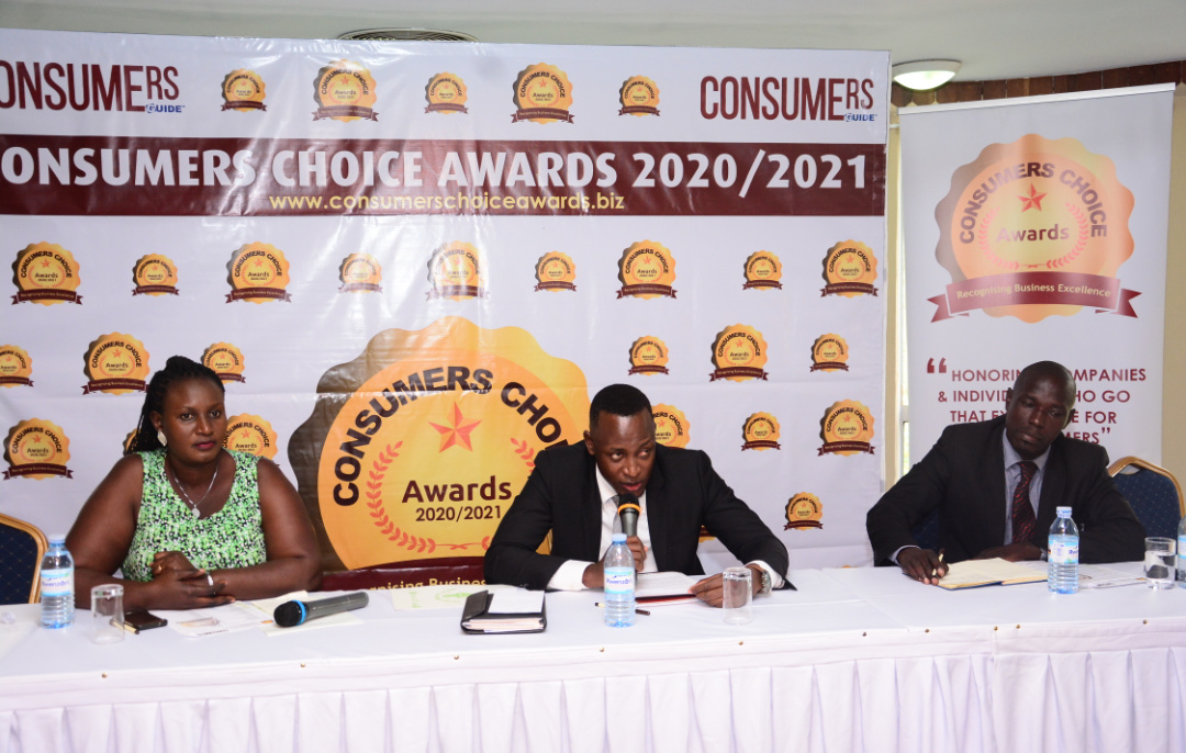 Mr Bari Salim the PublisherEditor-in-Chief of the Consumer Guide Magazine (Center) flanked by officials from the CC Awards address the media at Golf Course Hotel in Kampala (PHOTO/PML Daily).