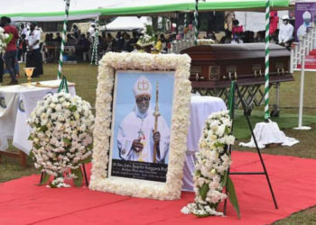 The burial ceremony of Bishop Emeritus of Masaka Diocese Bishop John Baptist Kaggwa (PHOTO/Courtesy).