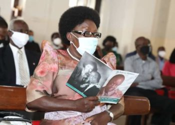 Rt. Hon. Rebecca Kadaga attending requiem mass for Paul Etiang on Tuesday (PHOTO/Courtesy).