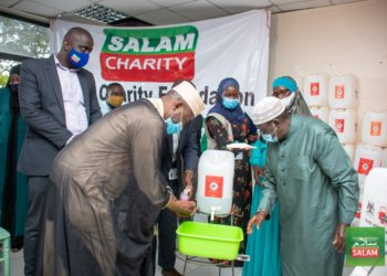 Salam Charity Foundation received over 250 handwashing jerrycans that will be distributed in Wakiso District and later areas of Mpigi, Mukono and Kampala (PHOTO/Courtesy).