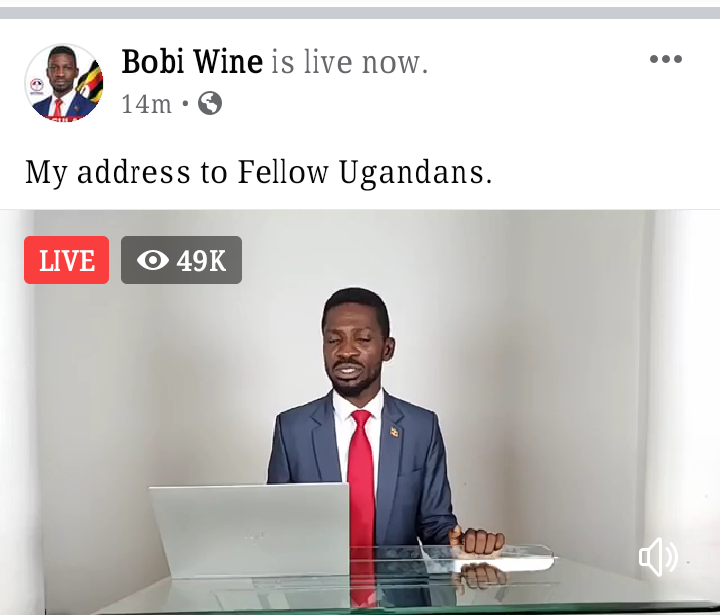 Bobi Wine addresses the nation (PHOTO/File).