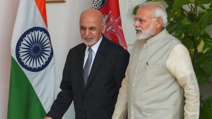 Indian Prime Minister Narendra Modi and Afghanistan President Ashraf Ghani in New Delhi recently. PHOTO/Shahbaz Khan | PTI)