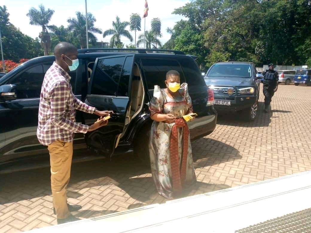 NRM Secretary General Ms Justin Kasule Lumumba arrives at Supreme Court to receive the petition on behalf of her boss on Wednesday (PHOTO/Courtesy).