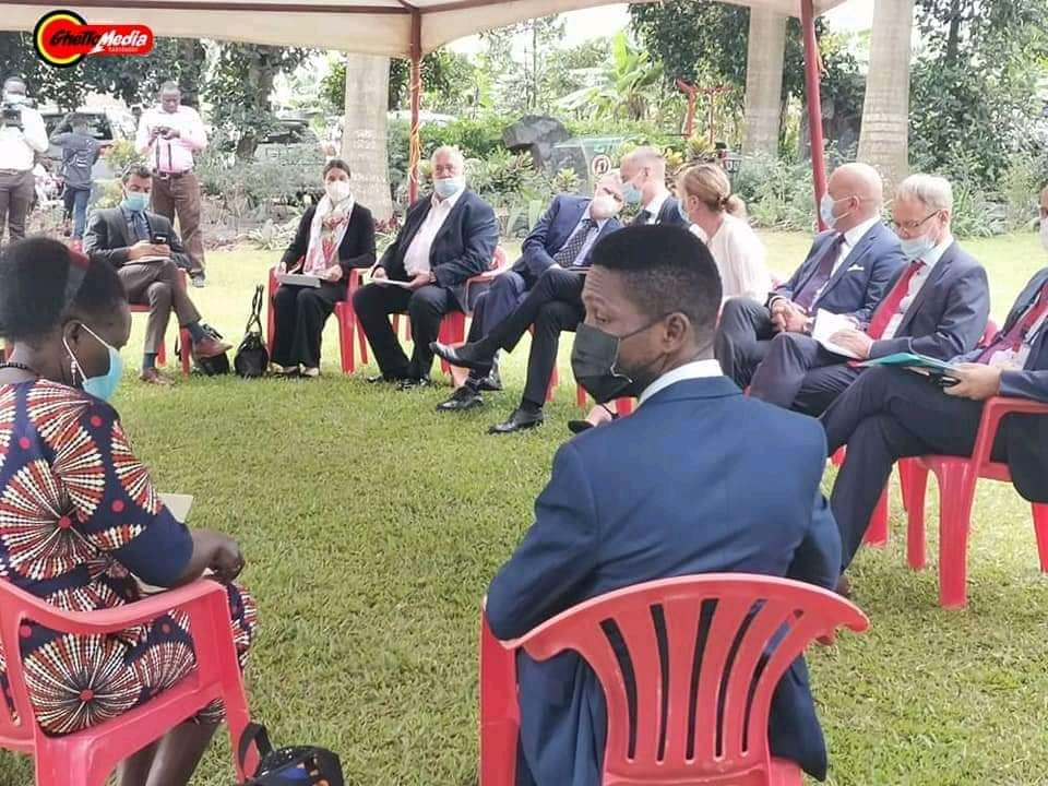 National Unity Platform President Robert Kyagulanyi - Bobi Wine hosting European Union leaders at his home in Magere on Thursday (PHOTO/Courtesy).