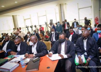 Bobi Wine's lawyers led by Counsel Medard Ssegona during the hearing on Tuesday (PHOTO/Courtesy).