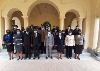 The Judicial Officials in a group photo after the meeting on Thursday (PHOTO/Courtesy).