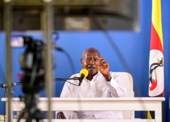 President Museveni addressing the nation on Saturday evening (PHOTO/Courtesy).