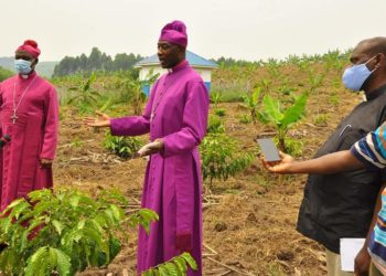 Archbishop Dr. Samuel Kaziimba Mugalu in a 250-acre garden for South Ankole Diocese (PHOTO/Courtesy).