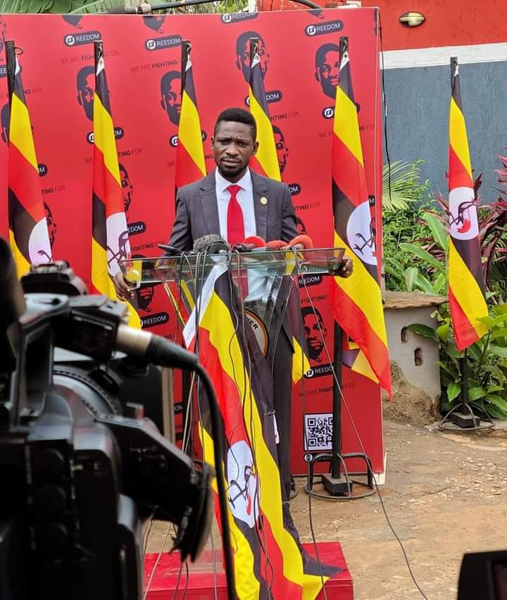 Bobi Wine address his supporters recently (PHOTO/Courtesy).