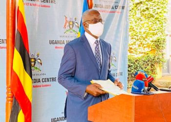 Prof. Dr. Samuel A. Lugoba, the Chairperson for Education Service Commission address press at Uganda Media Center on Wednesday morning (PHOTO/Courtesy).